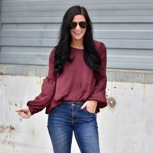 The Impeccable Pig maroon long sleeve blouse
